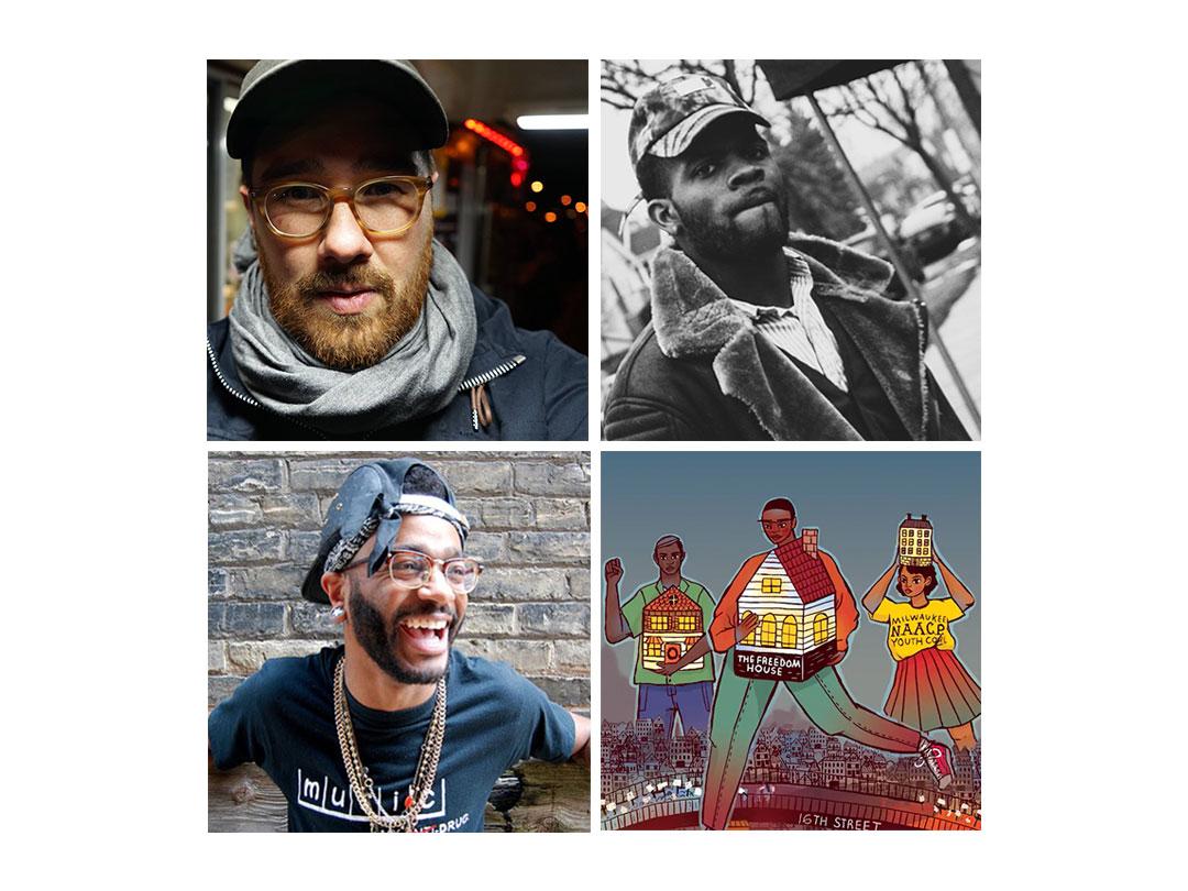 Artists on project (clockwise): Adam Carr, Writer.Edward Wingard, Narrator. Gabriela Riveros, Illustrator. Klassik, Musician.