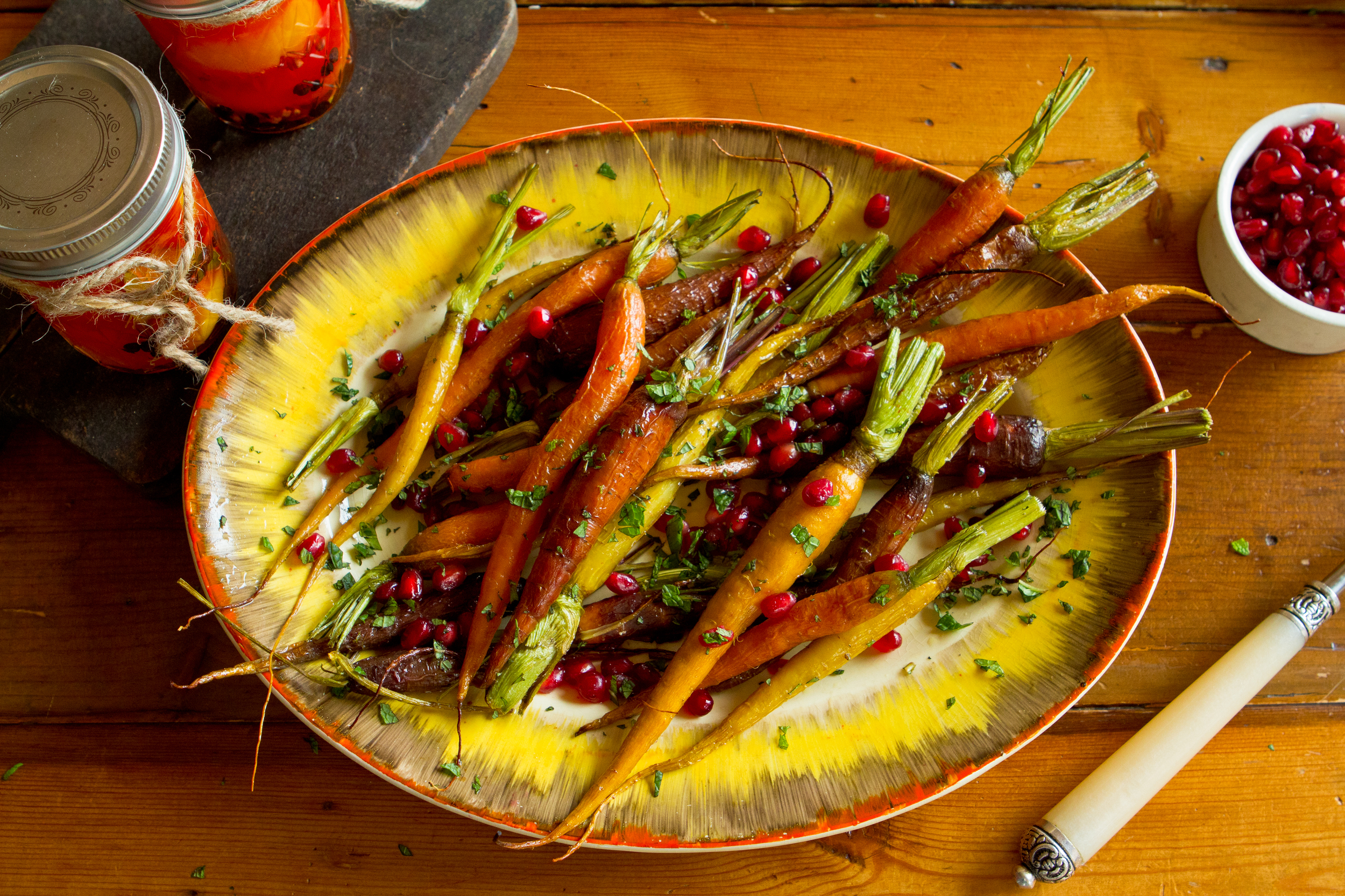 Roasted Carrots with Pomegranate