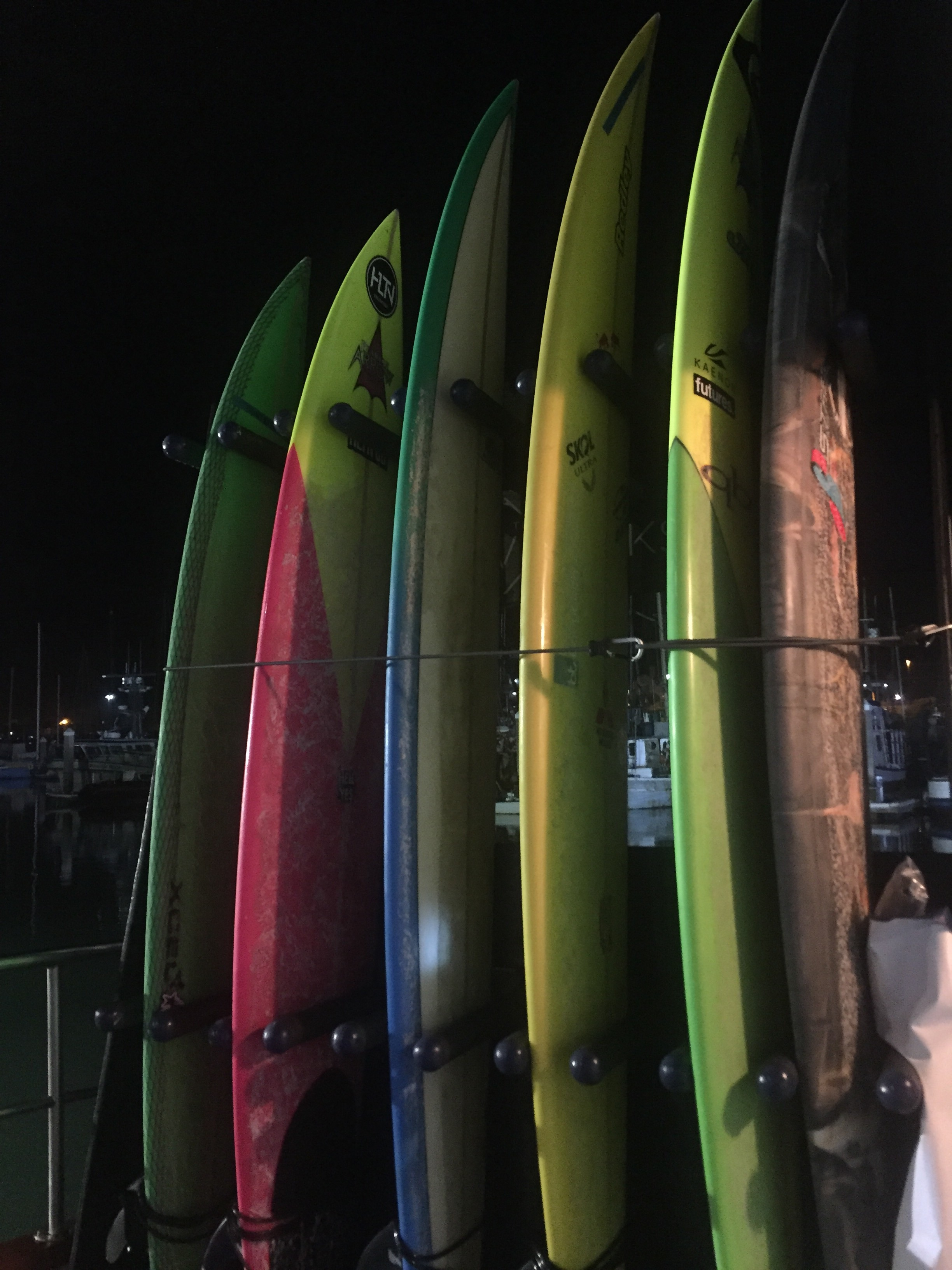 Competitors surfboards the morning of the competition