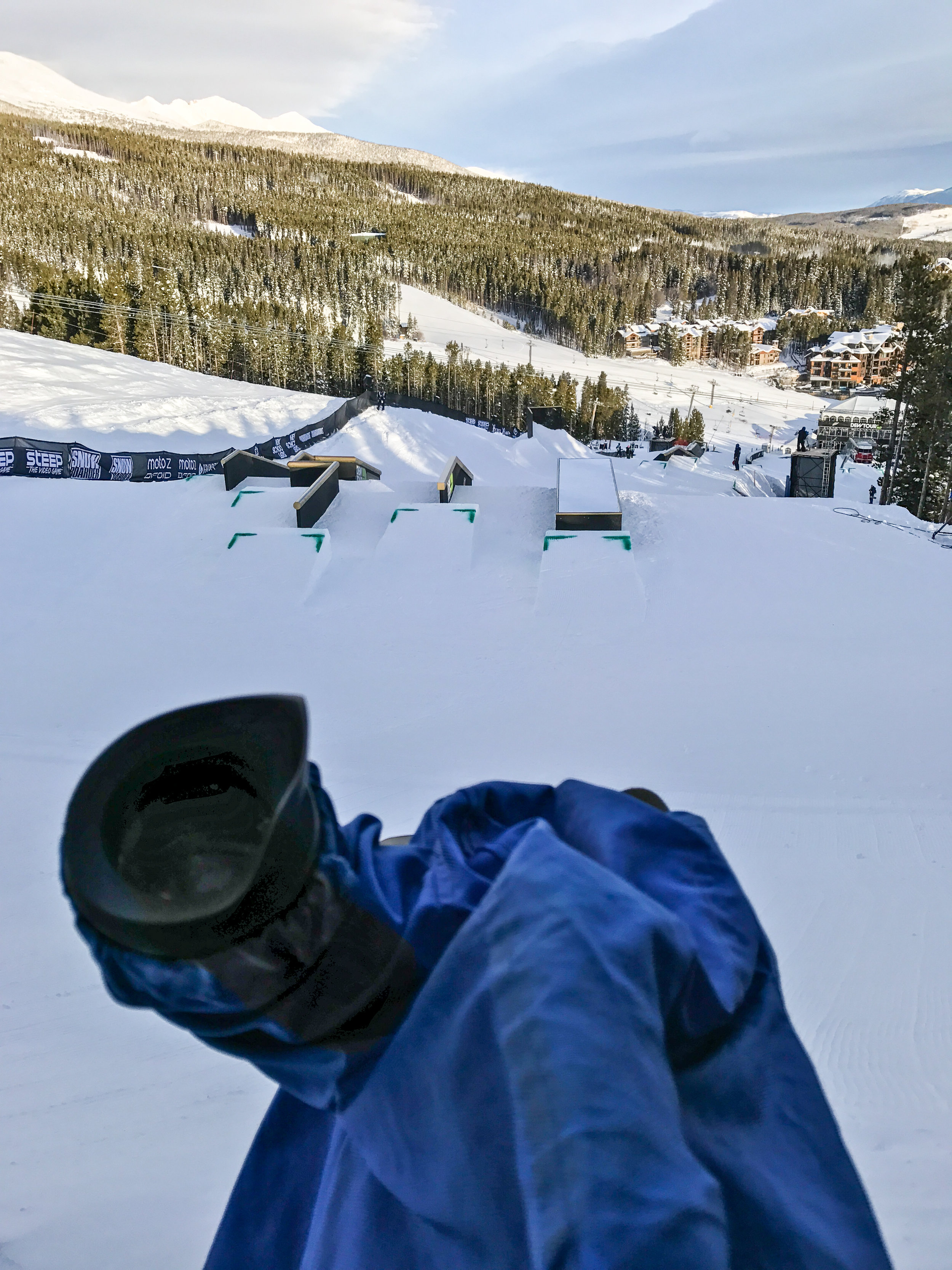 View from the top of the Jibs course. Camera 1. My post for two days.