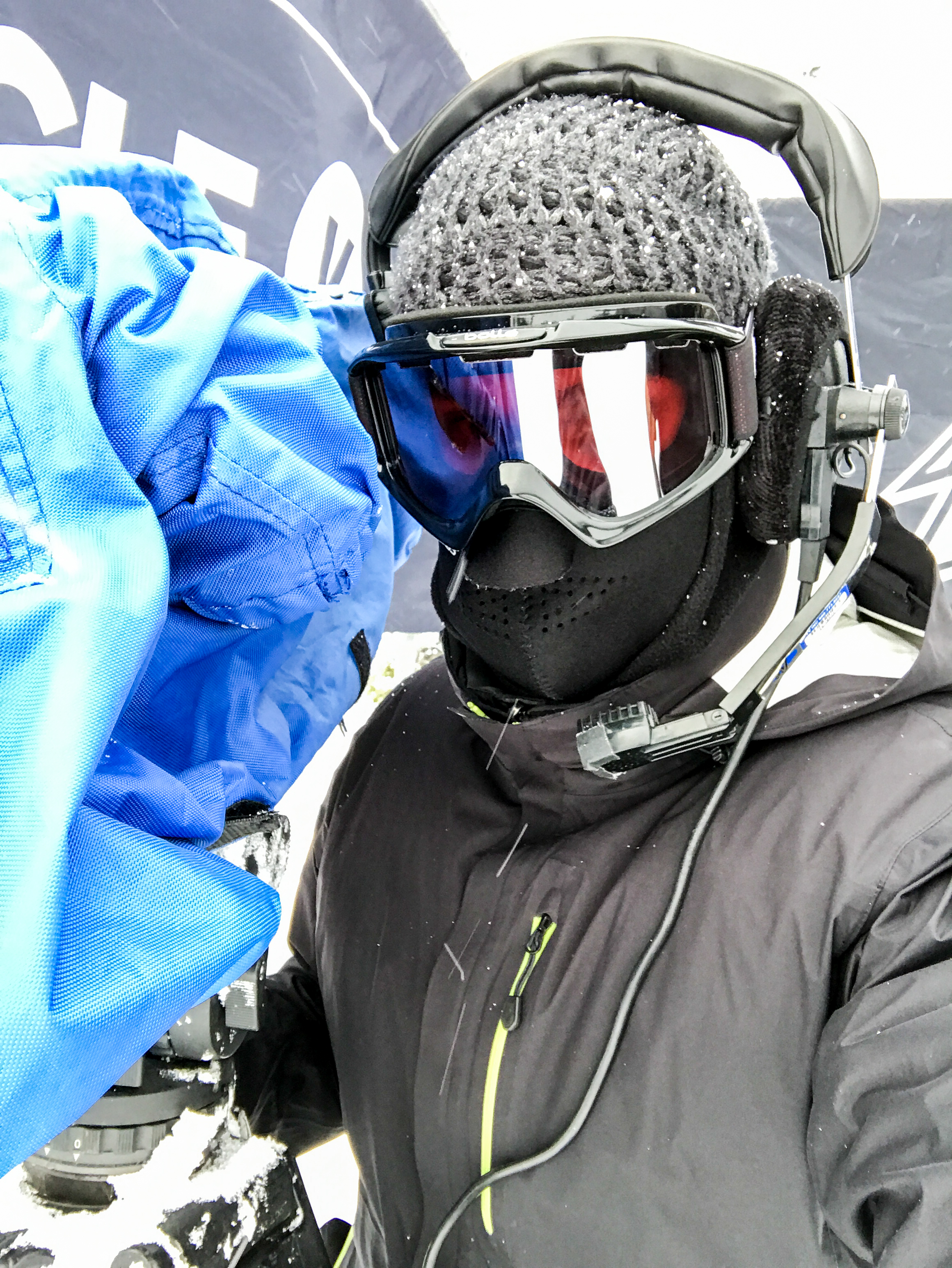 What I looked like for three straight days. Operating in goggles is tricky to say the least.