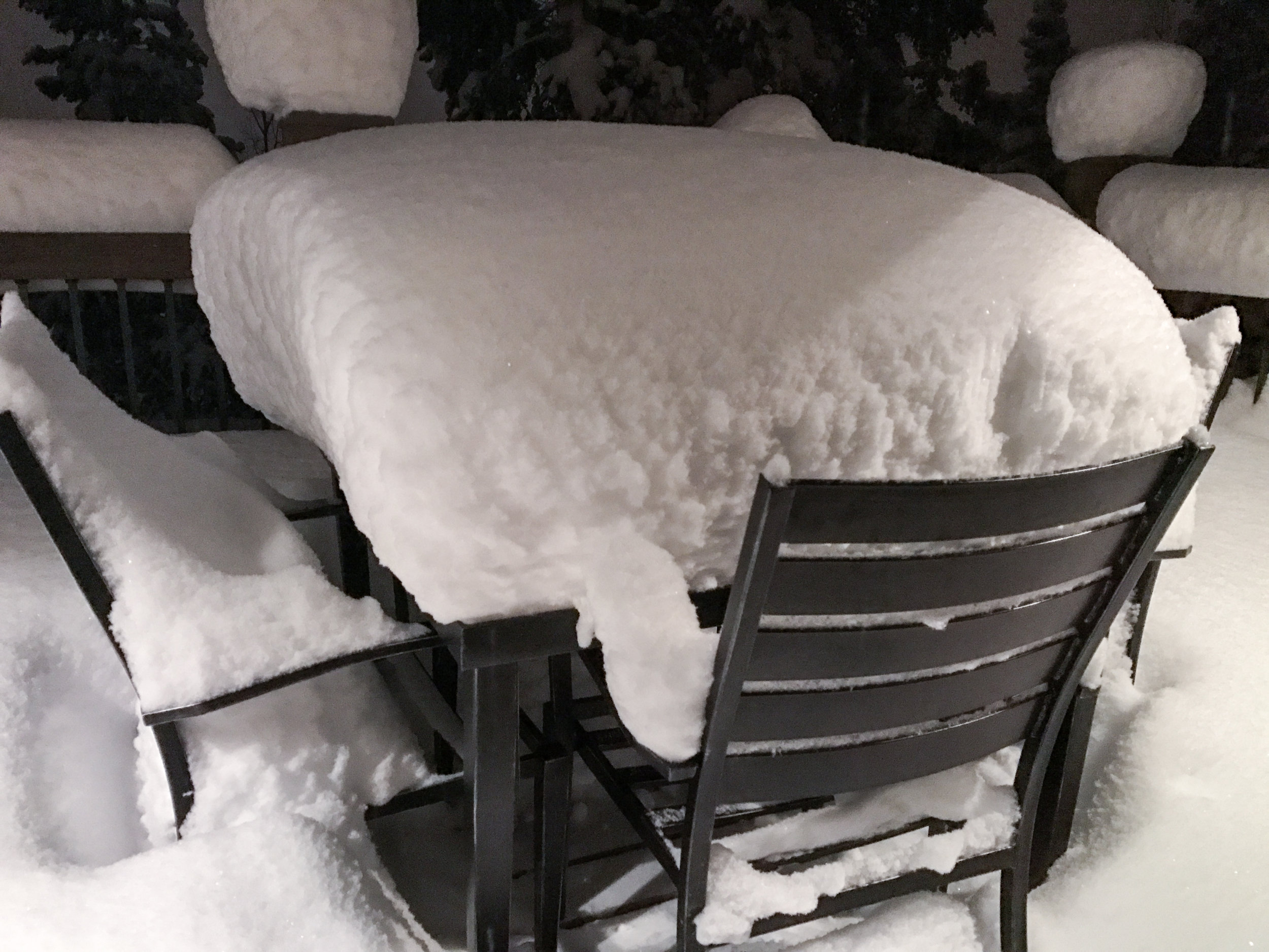 Snow on our balcony at home.