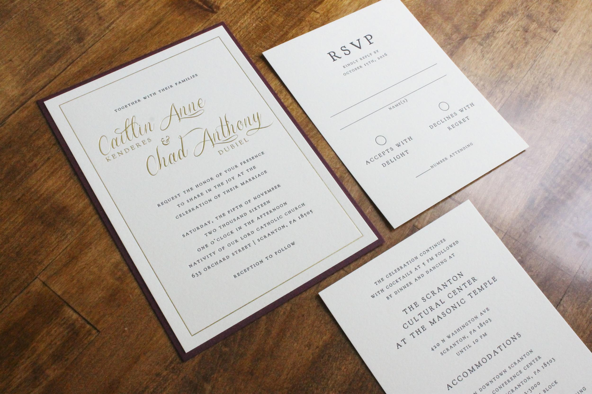 Gold Foil and Letterpress Wedding Invitation Maroon