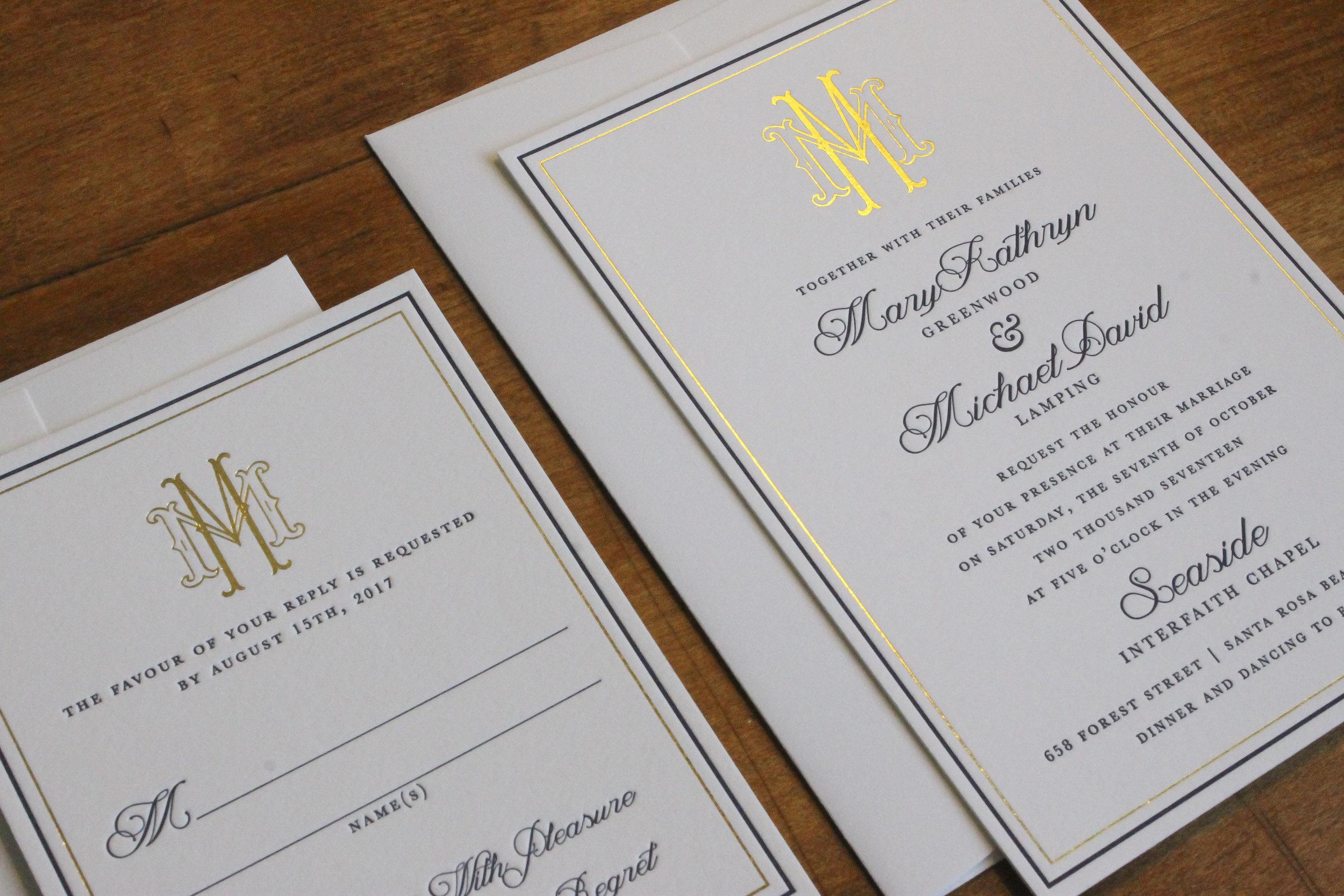 Letterpress Gold Foil Wedding Invitation