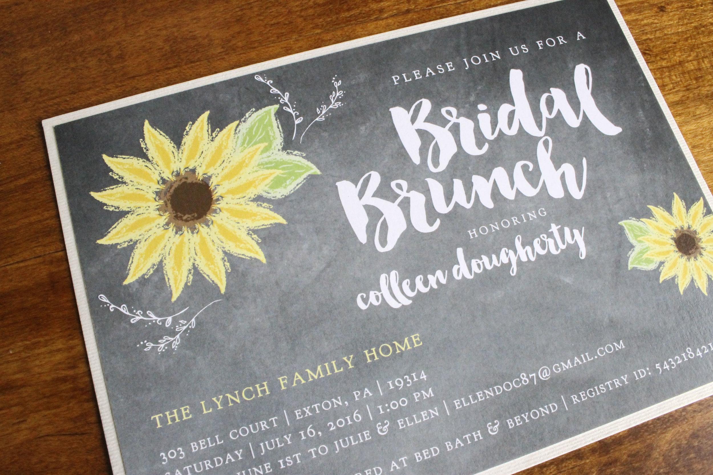 Bridal Shower Chalk Board Sunflowers