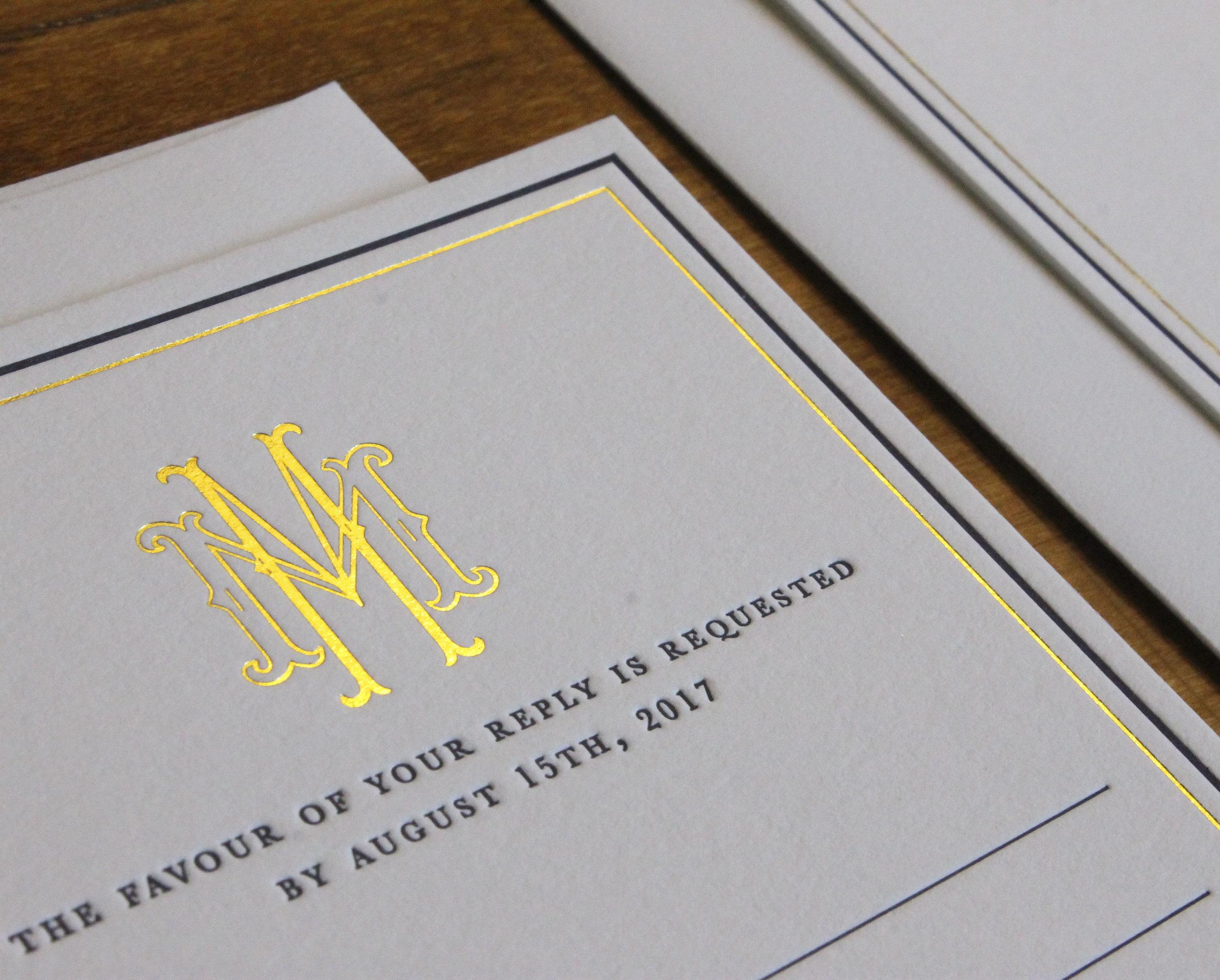 Letterpress and Gold Foil Wedding Invitation Suite