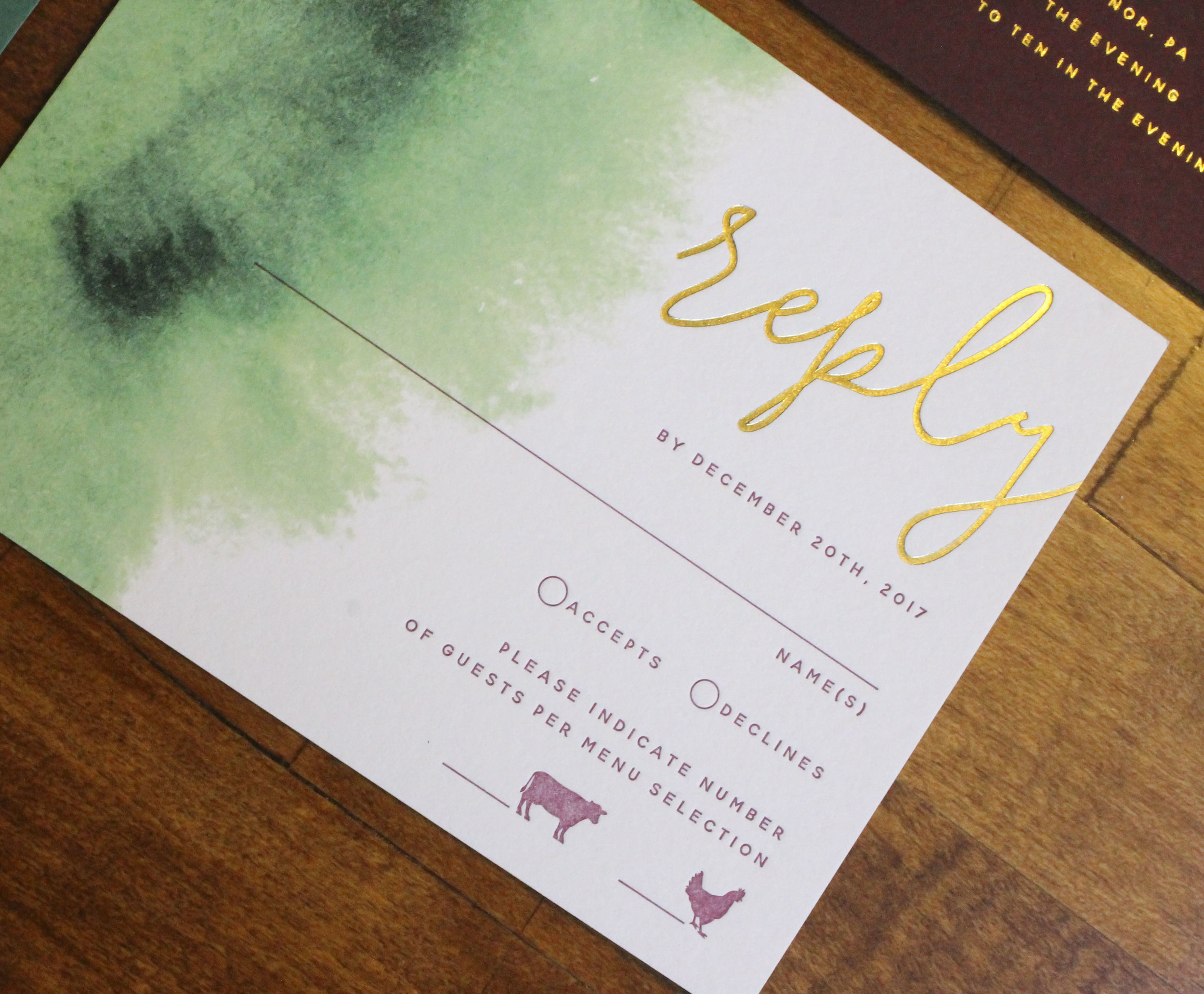 Burgundy Green Gold Foil Wedding Invitations