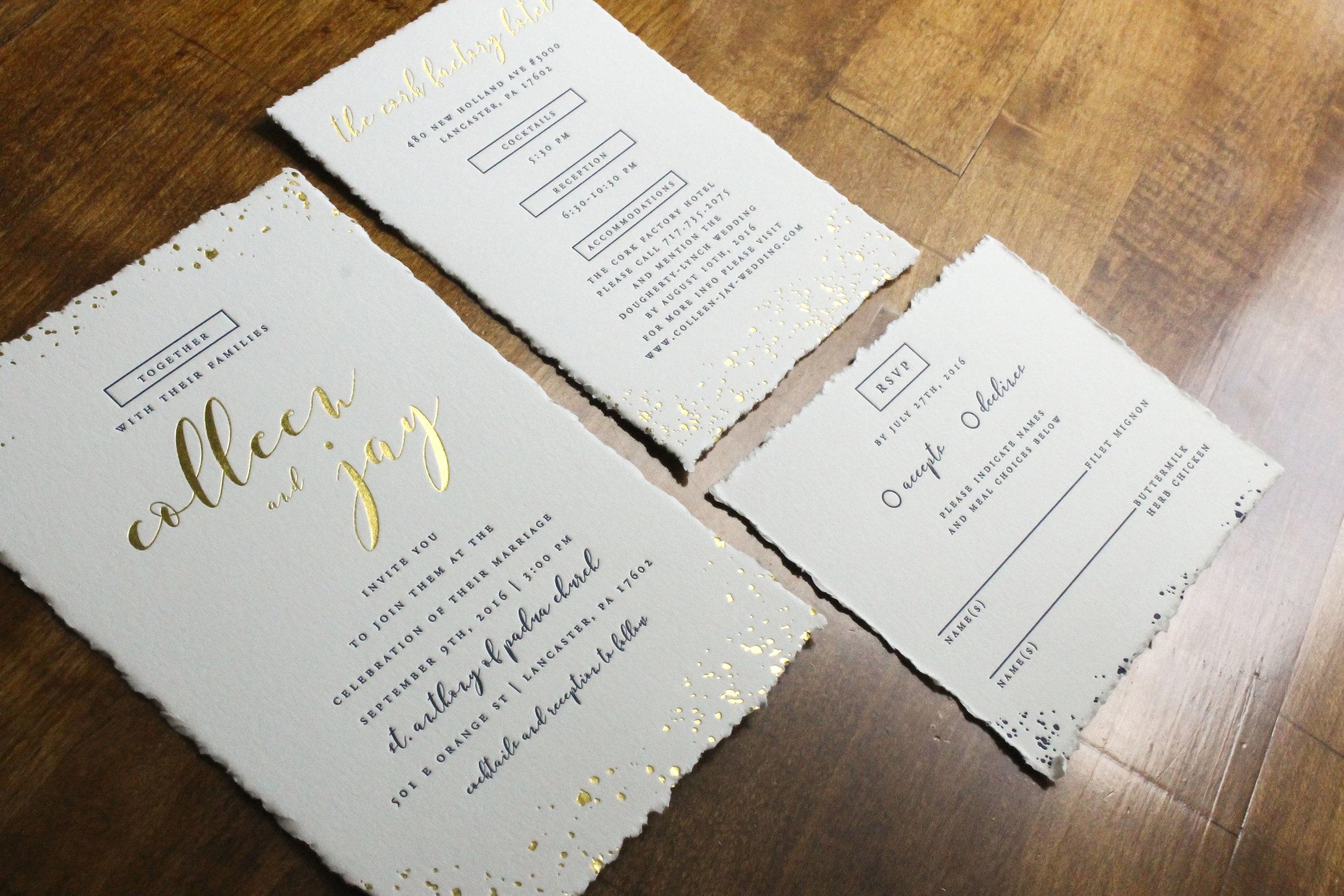 Rustic Letterpress and Gold Foil Wedding Invitations