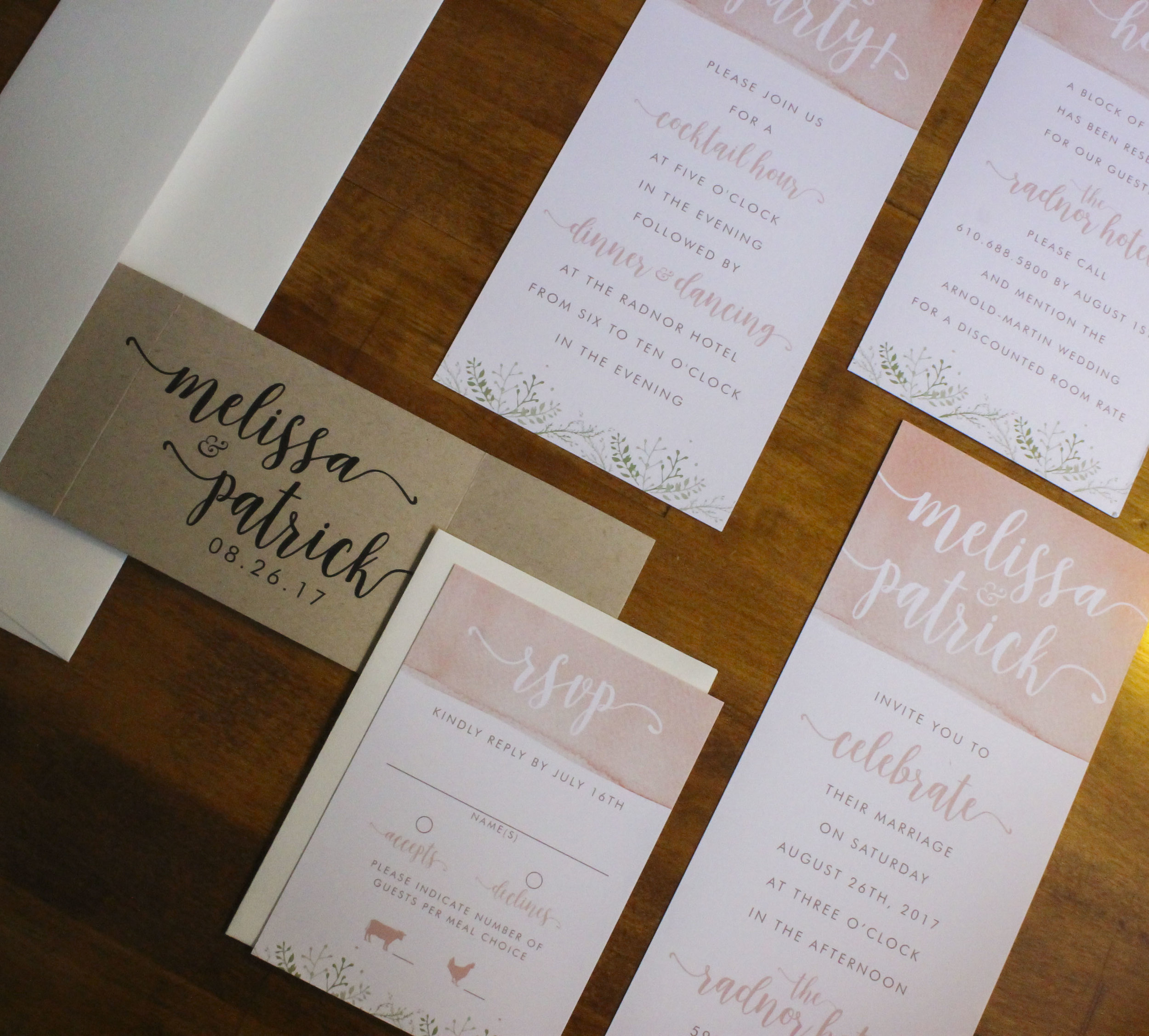 Rustic Watercolor Wedding Invitation