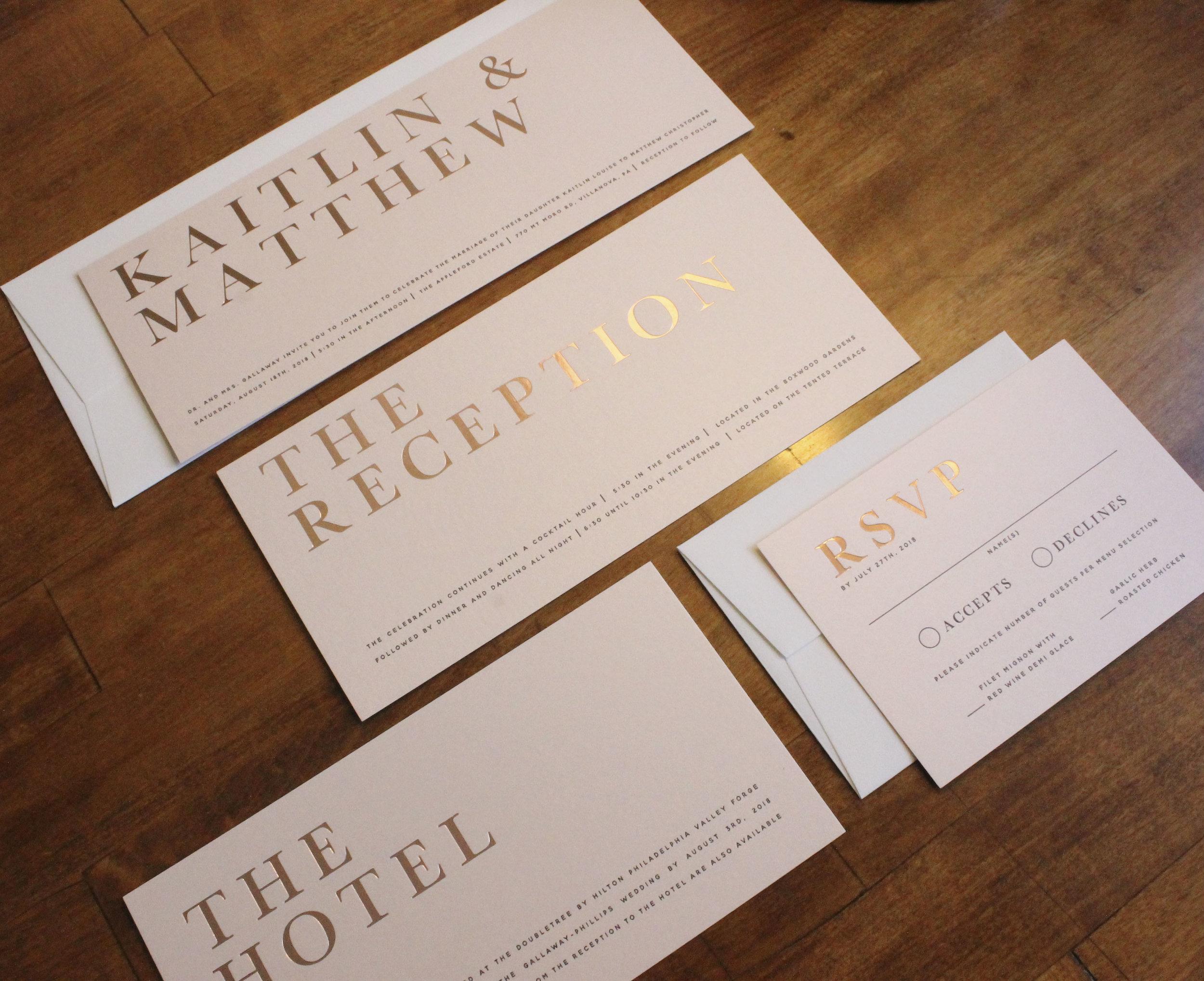 Blush Rose Gold Foil Wedding Invitation