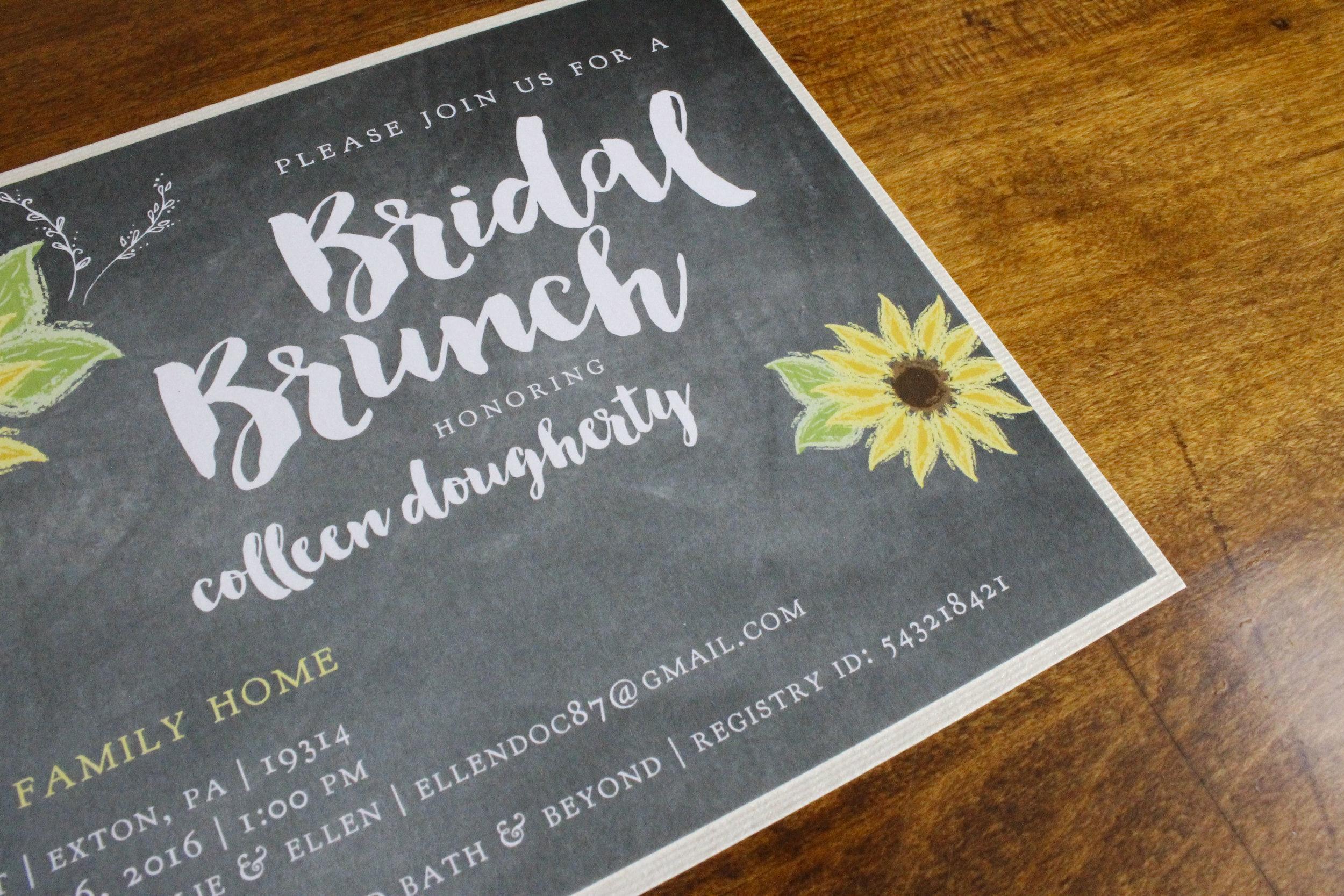 Bridal Shower Invitation Chalk Board Sunflower