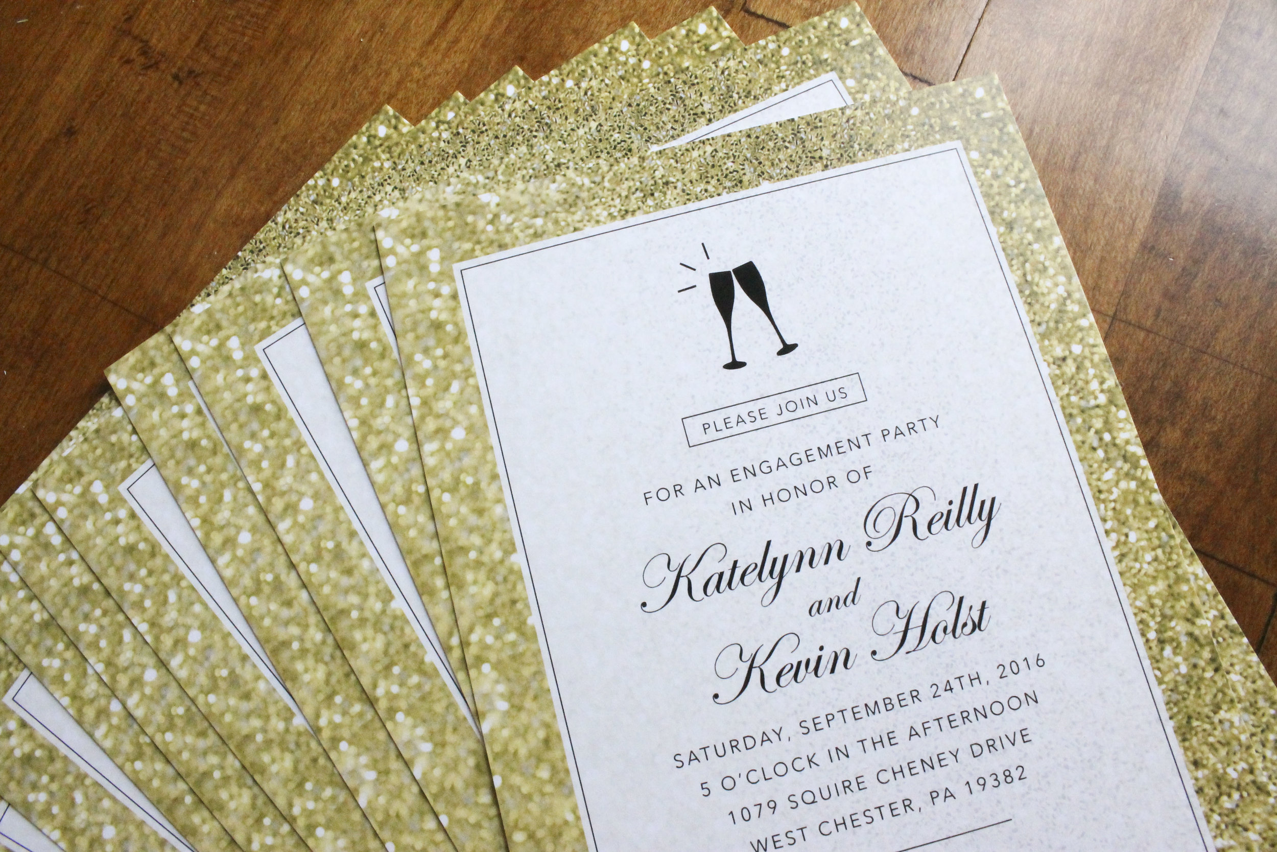 Engagement Party Invitation Gold Glitter