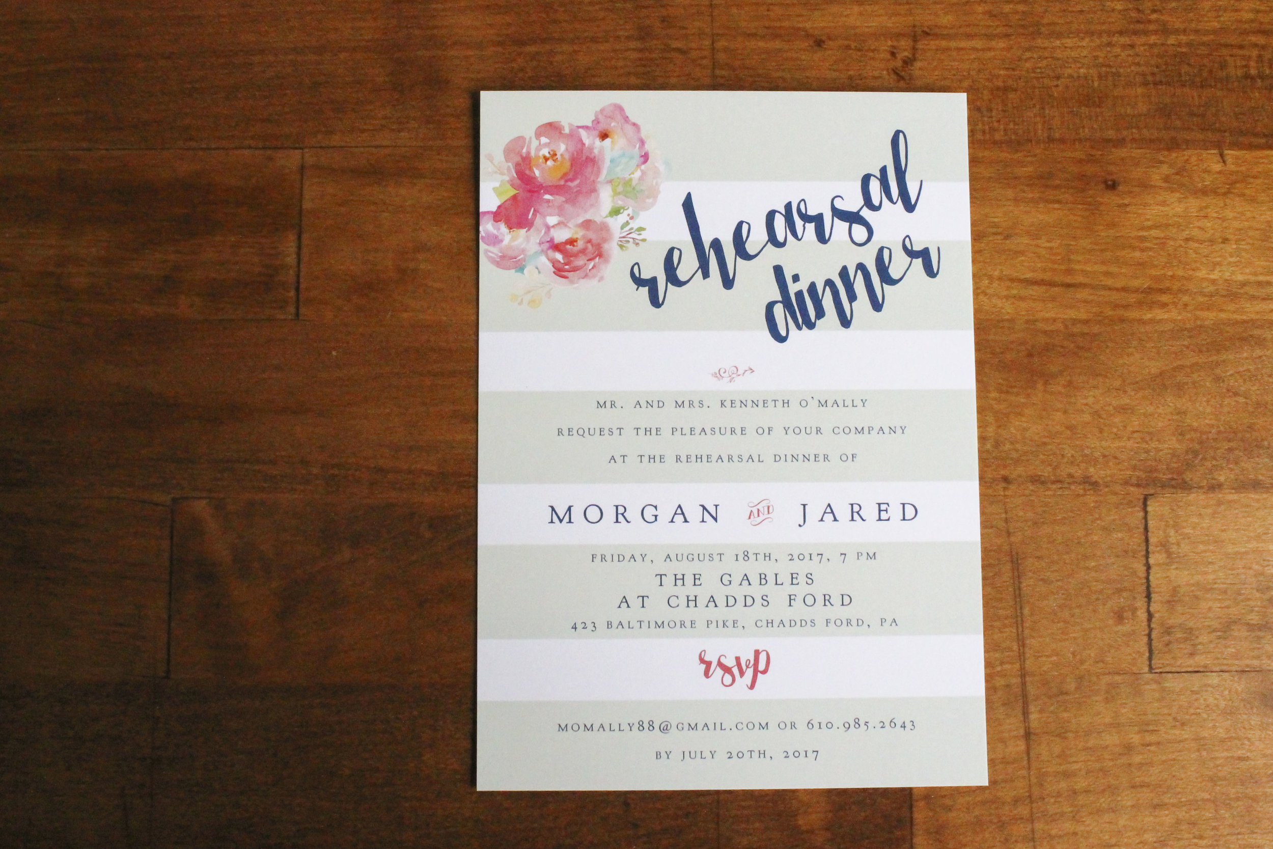 Rehearsal Dinner Invitation Rustic Watercolor Flowers