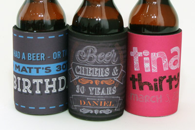 Three choice designs from our collection of 30th birthday stubby holders