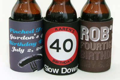 A few of our fave 40th birthday stubby holder designs