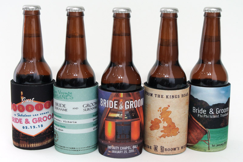 Just a few of our favourite destination wedding stubby holders
