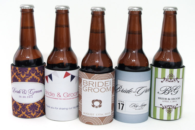 Five graceful stubby holders to suit modern and vintage wedding themes