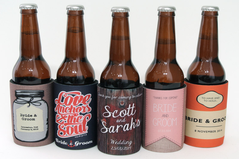 Five beautiful themed wedding stubby holders to get you started.