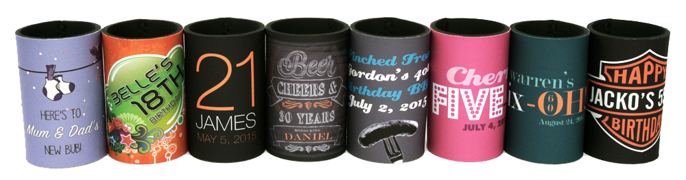 Just a handful of our stunning new birthday stubby holder designs - there are over 100 templates to choose from!