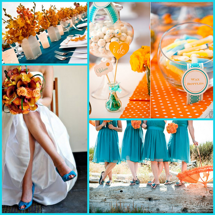 Teal and Orange. Contemporary and fresh colour combination for this season.
