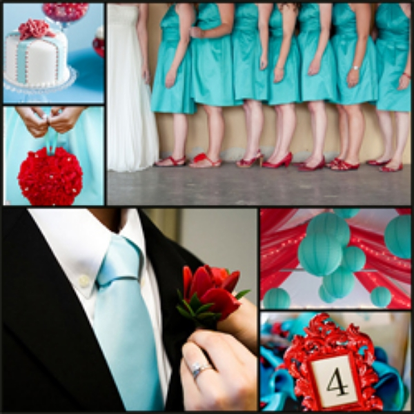 While at first they might appear to be unlikely partners, for some reason teal and red just work together wonderfully well for a bold colour combo this season..