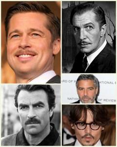 Famous moustaches:Brad Pitt, George Clooney, Johnny Depp, Tom Selleck & Vincent Price