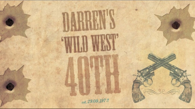 Wild West 40th stubby holder design from our 40th birthday section - you can change the year to whatever you like when you place your order.