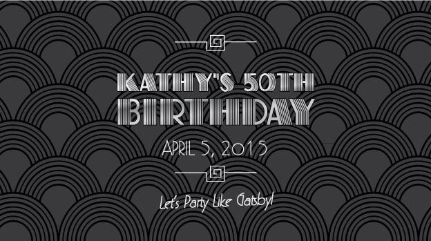 Great Gatsby inspired Art Deco birthday stubby holder design