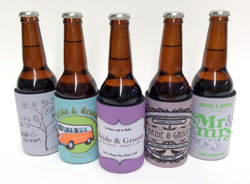 Five new wedding stubby holder designs to choose from....