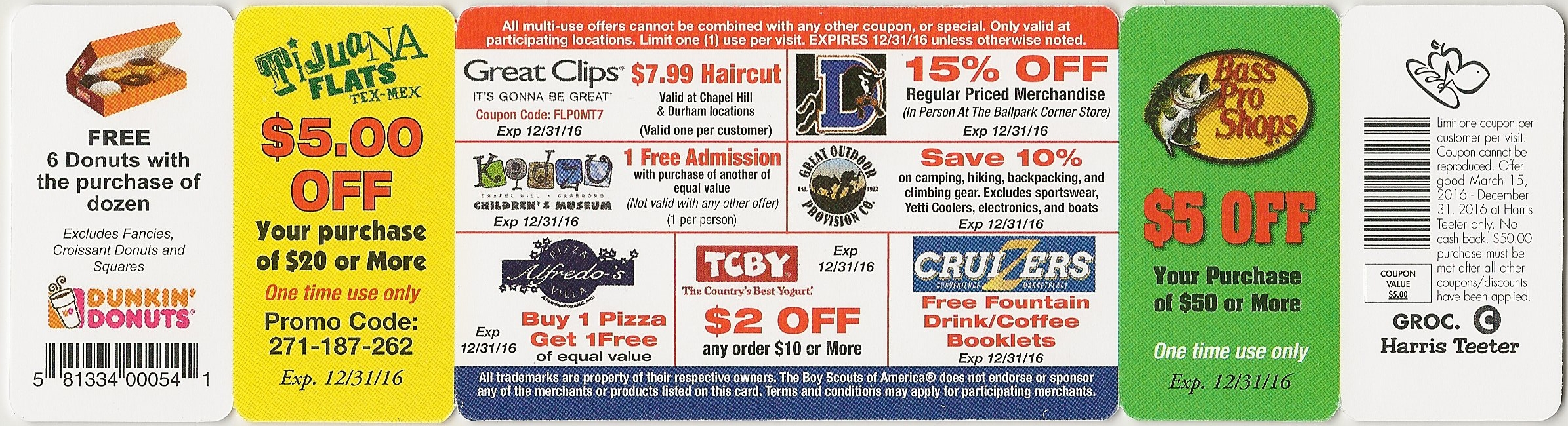 Back of card. Multi-use deals are listed on the main part of the card.