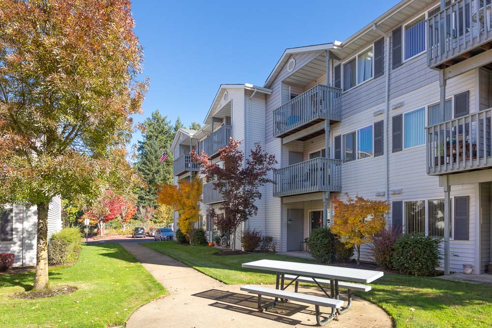 Apartment complex exterior in fall season