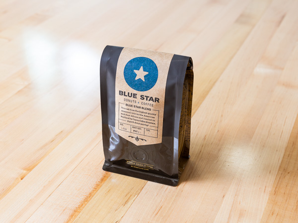 Bag of coffee beans at Blue Star Donuts