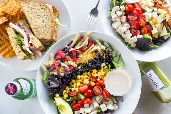 Salads and sandwich at Foode Cafe