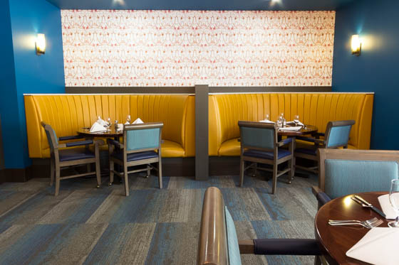 Booth restaurant seating with yellow benches and blue walls.