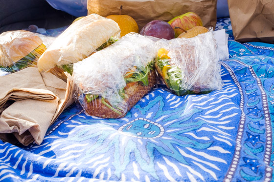 Pan bagnat picnic after a long day of driving and hiking around  Point Reyes National Seashore .