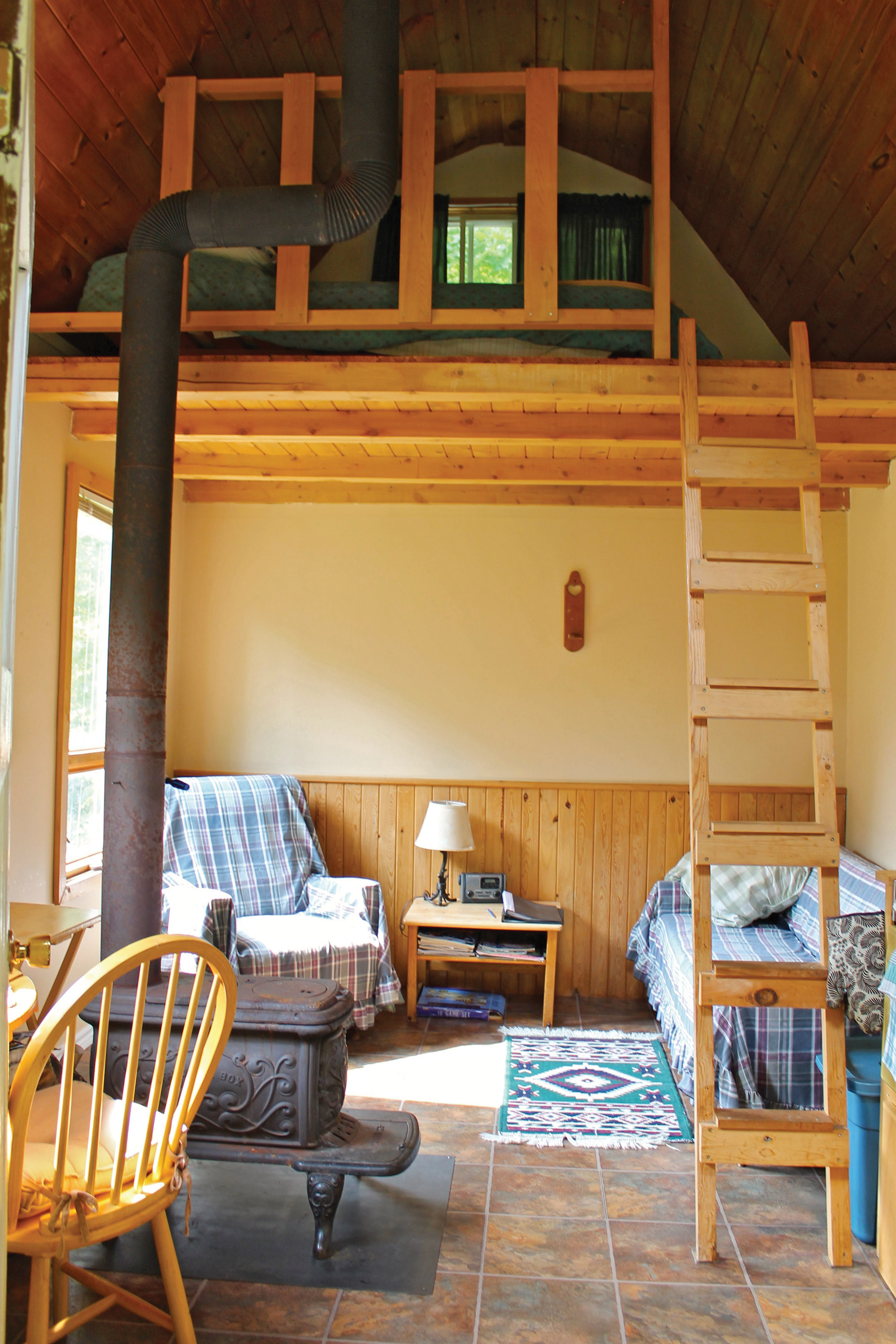The minimalist guest house is booked most weekends, even in February, despite the fact it has no running water or electricity. Harvey provides drinking water and firewood, and there is easy access to the lake.