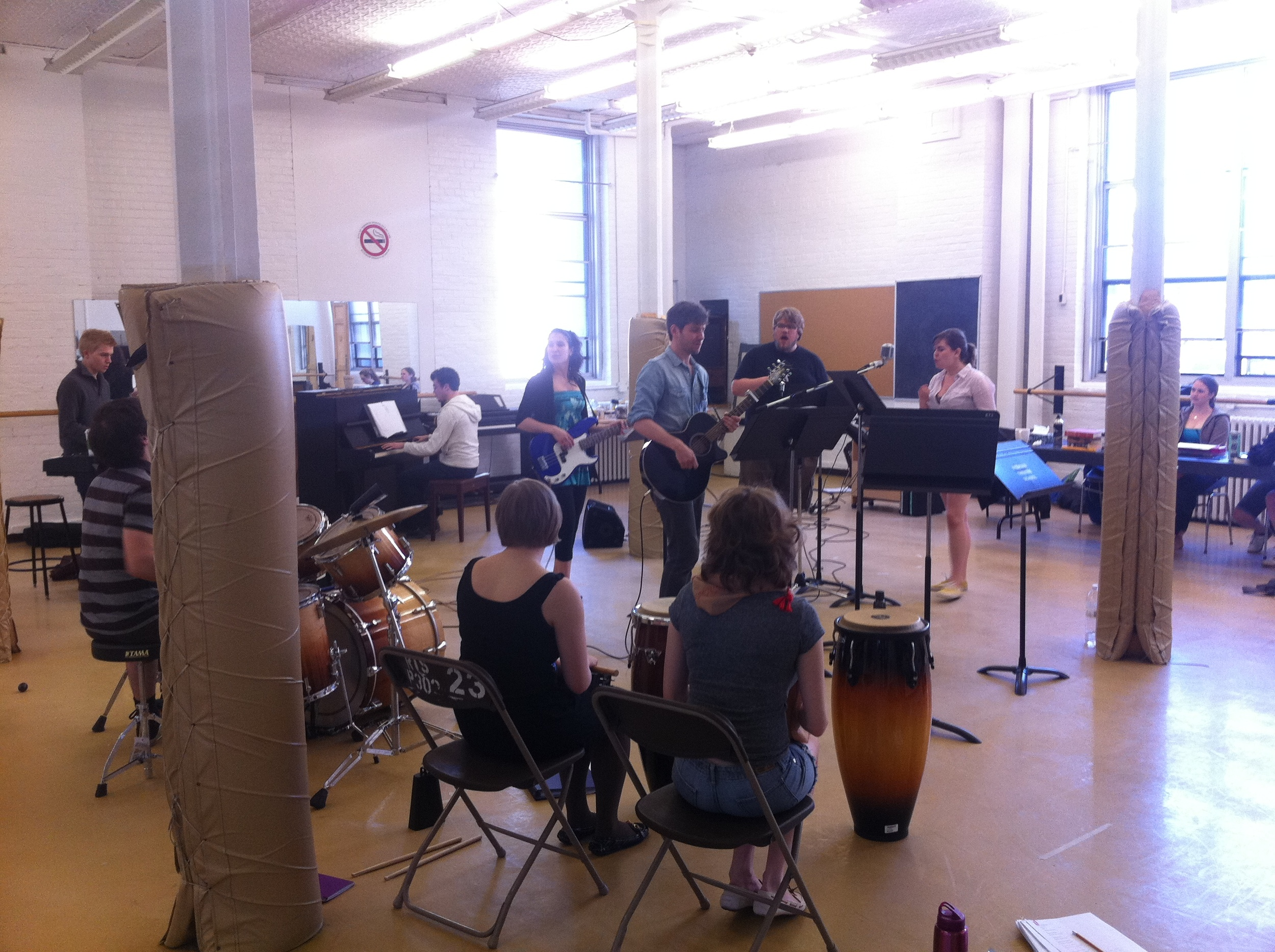 In rehearsals for 'Aleck Bell' in Toronto, one of a variety of successful productions written by the Tweed & Co. crew.