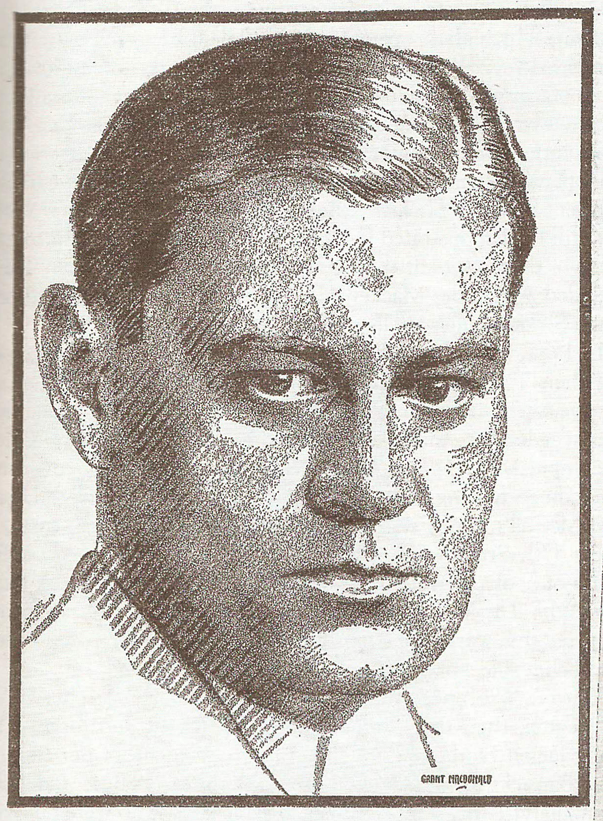 """This portrait of Merrill Denison by Grant Macdonald first appeared in  The Toronto Star Weekly , March 15, 1930. In  Bon Echo: The Denison Years , Mary Savigny included the image in a chapter entitled """"Keeping the Wolf from the Door."""""""
