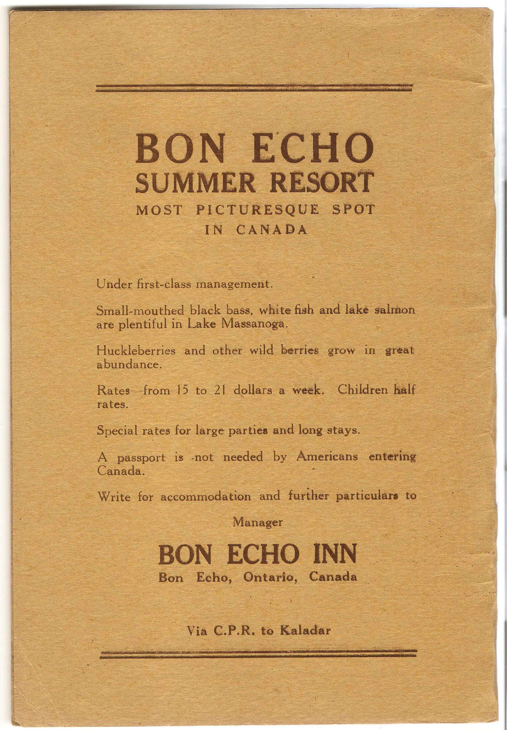 Flora MacDonald completed her purchase of the Bon Echo Inn in September, 1910.