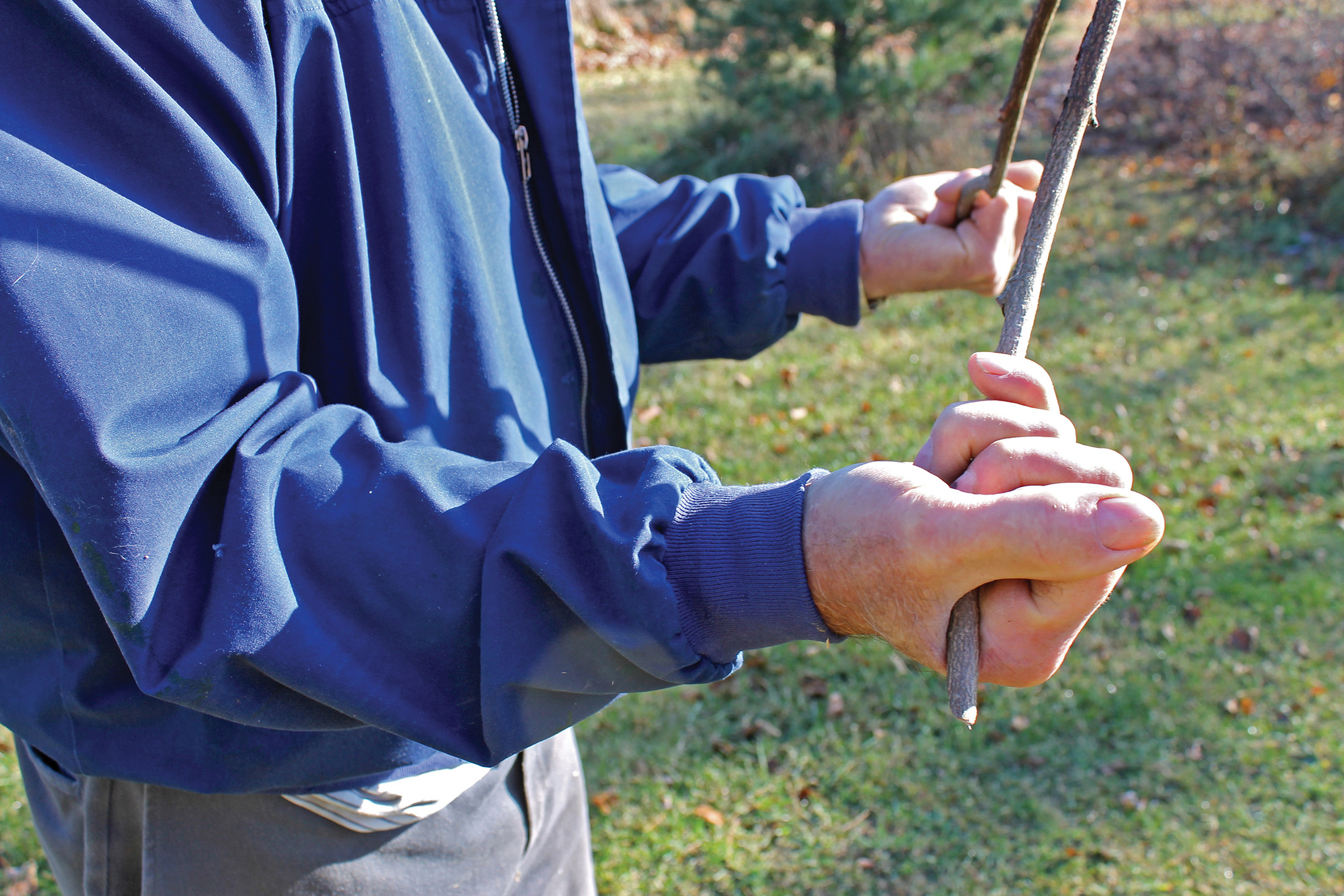 Hand and arm position are key elements to the craft of water witching, as Shatraw demonstrates, with thumbs pointing out, a tight grip on the branch and elbows tucked in.
