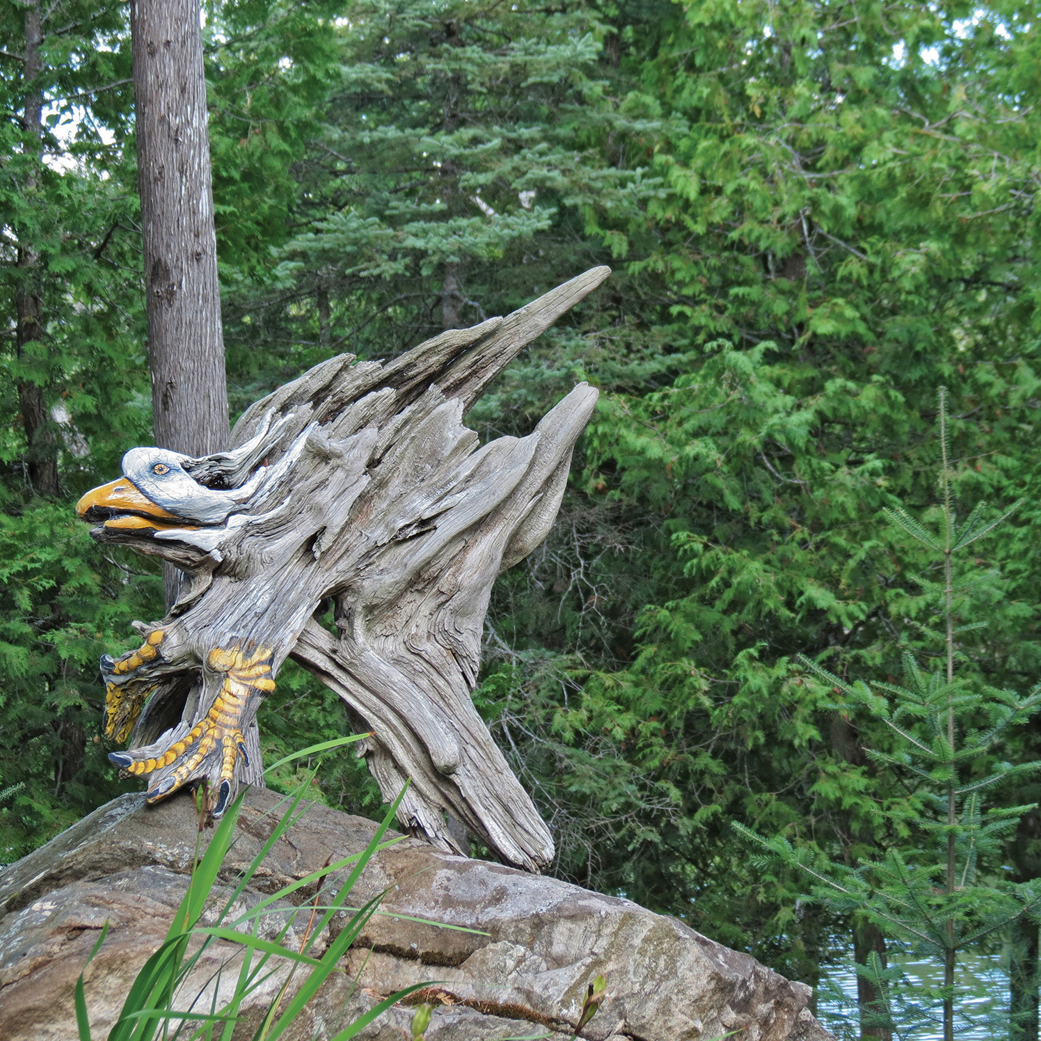 Monteith stops at nothing to obtain her materials, and has been known to jump out of a boat and retrieve a piece of driftwood that will serve as a canvas. This eagle sits in the centre of her garden.