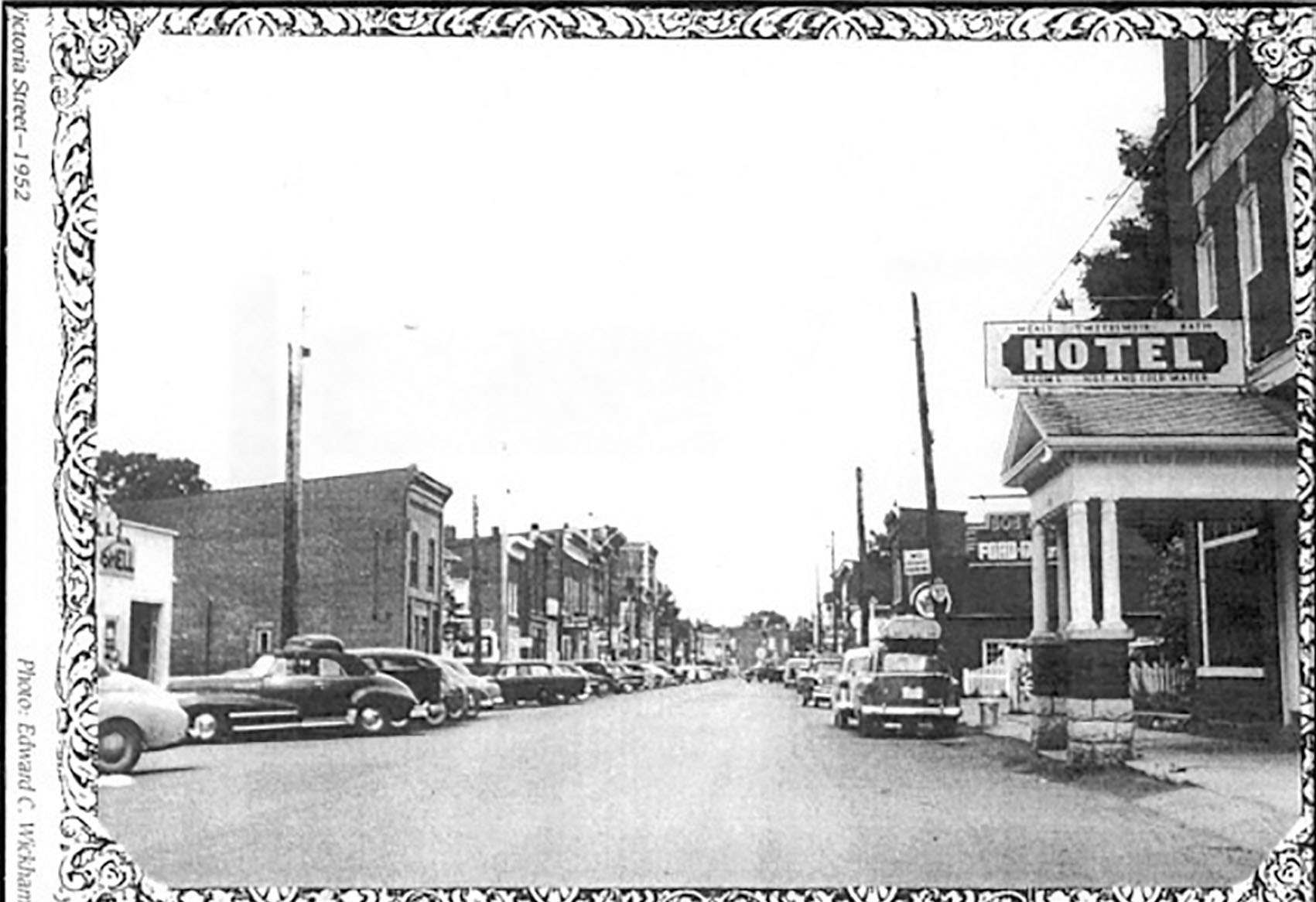 This 1952 photo shows the inviting wide main street of Tweed with the Tweedsmuir Hotel sign plainly visible. Photographer not identified. Photo courtesy Lewis Gaylor Collection (Gaylord Hardwood Flooring)