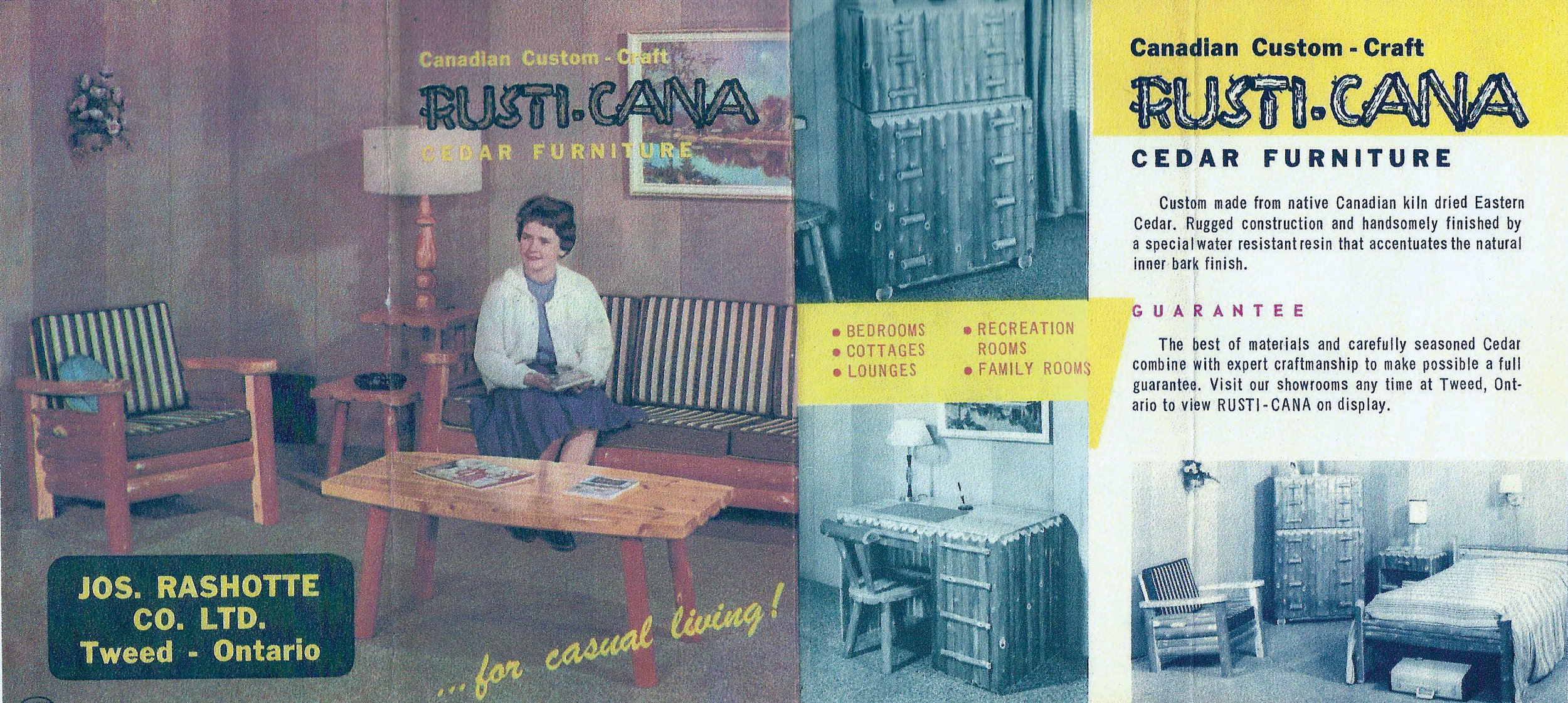 Various colour images from surviving catalogues rekindle memories of the Rusti-Cana line of cedar furniture that was for many years immensely popular with homeowners and cottagers. Photo courtesy Chris Rashotte (Rashotte Home Building Centre)