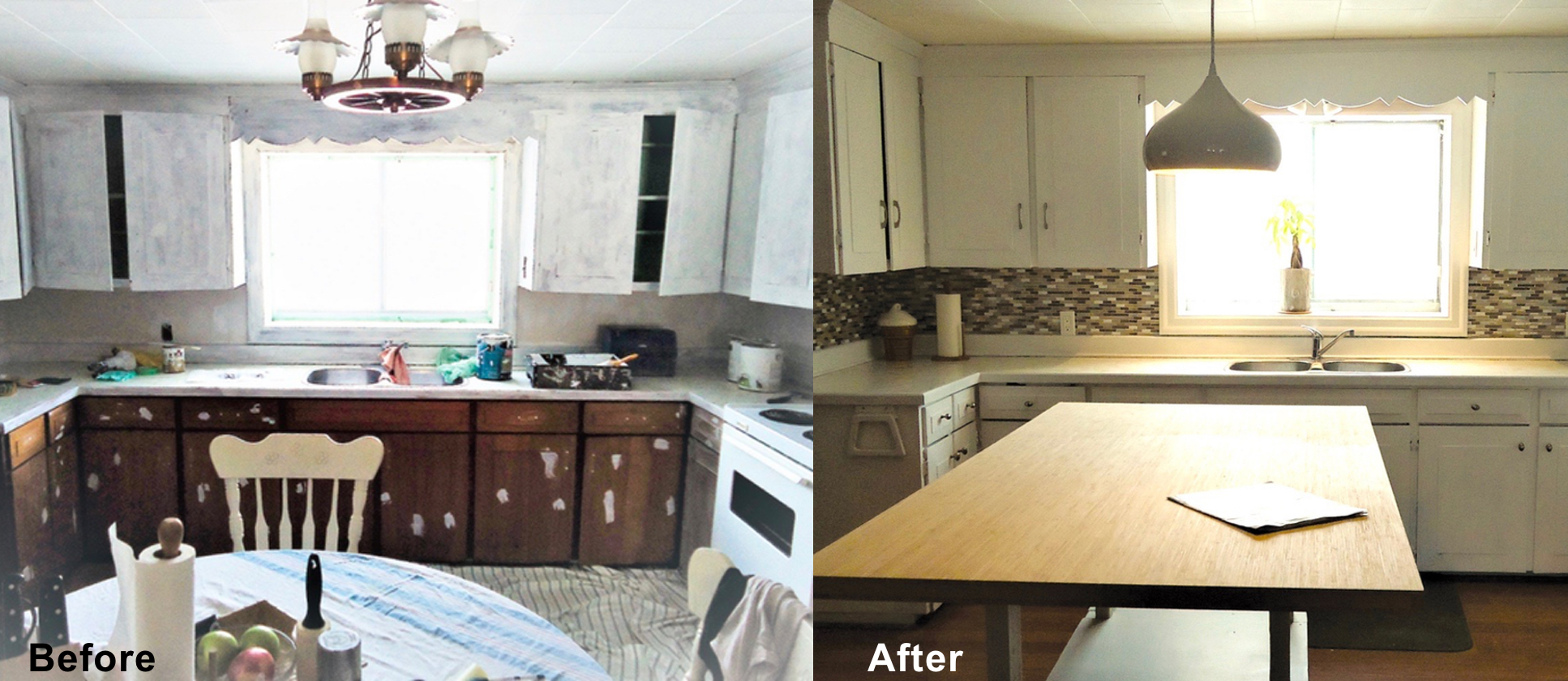 A kitchen renovation is an expensive undertaking. If your budget doesn't allow for the big reno and the footprint is good tackle the surfaces and reuse, repaint, relight…use your imagination.