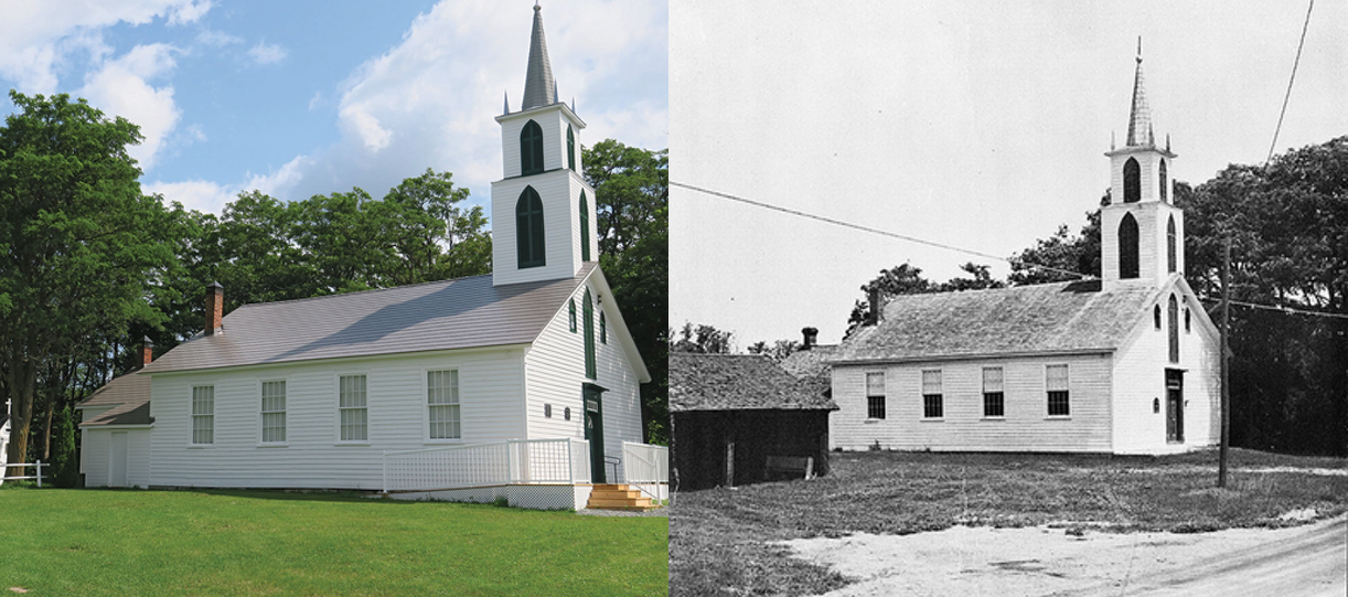 Wesleyan Methodist Church, Hazzard's Corners, now and back in 1858.