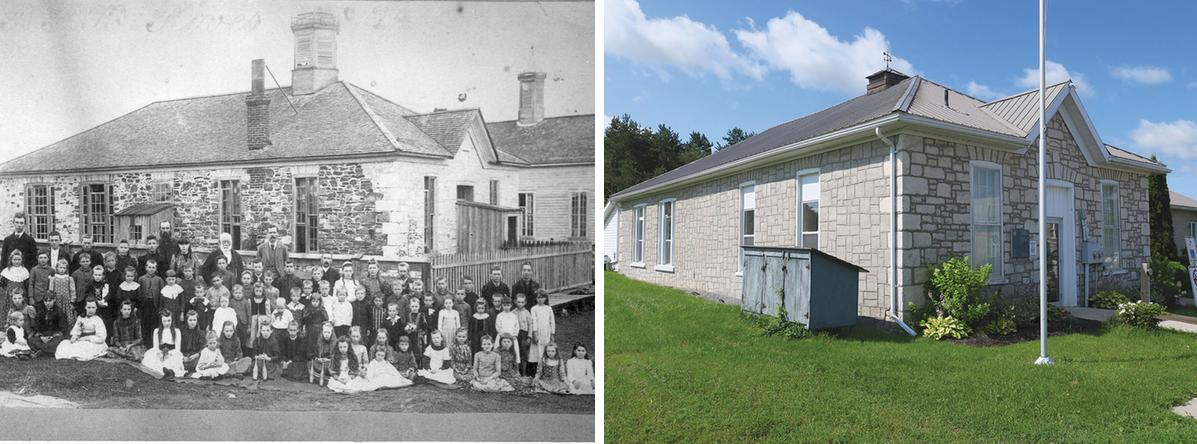 Bridgewater School then (1861) and now – Actinolite, Historic photo courtesy Grant Ketcheson
