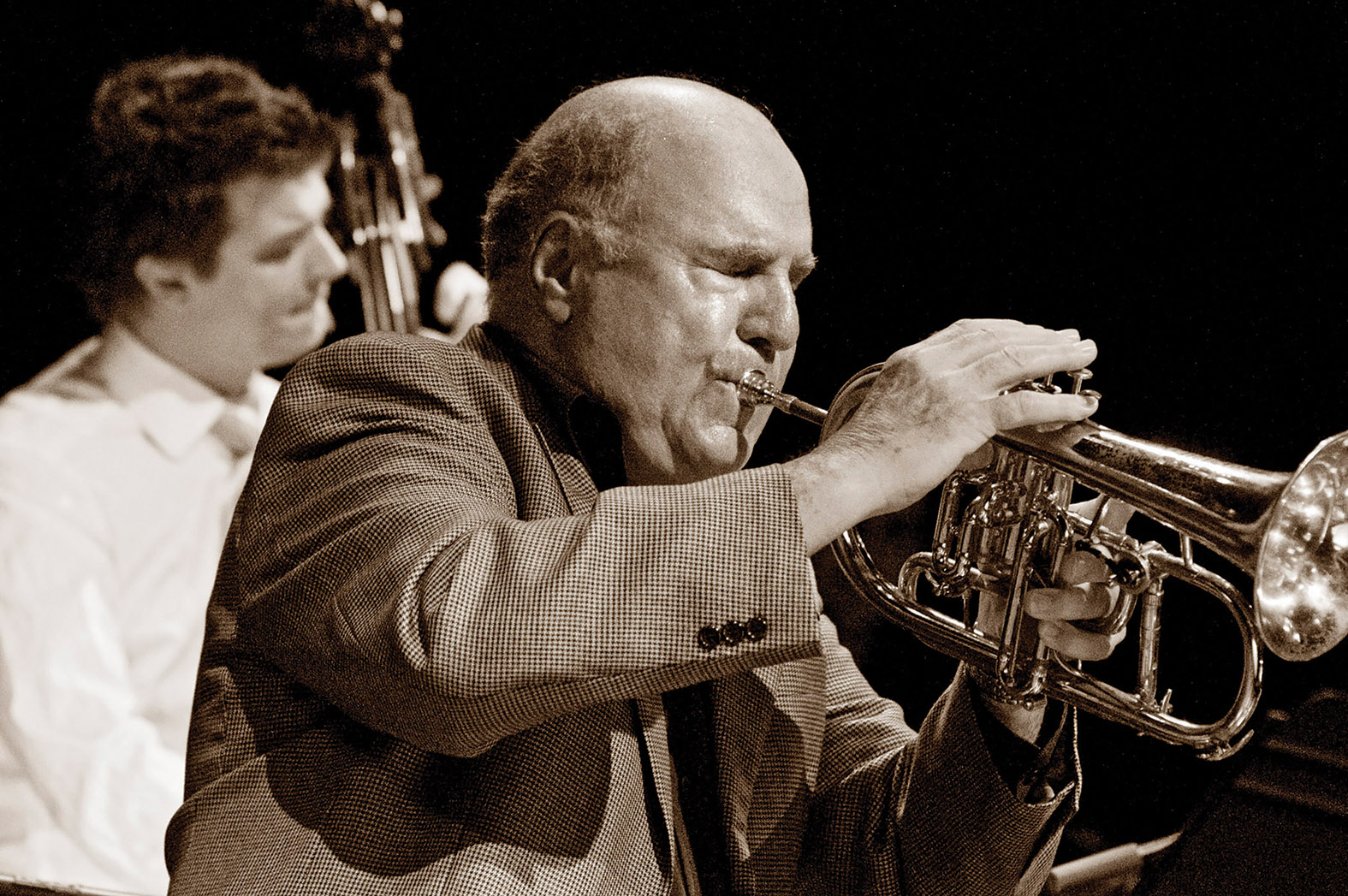 Guido Basso (foreground), shown performing with Morgan Moore, has helped turn the John Sherwood Trio into a quartet for the jazz portion of Stirlingfest this fall.