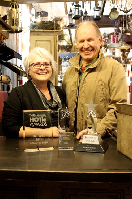 Janis and Peter Whitehead, with some of the awards their business has won