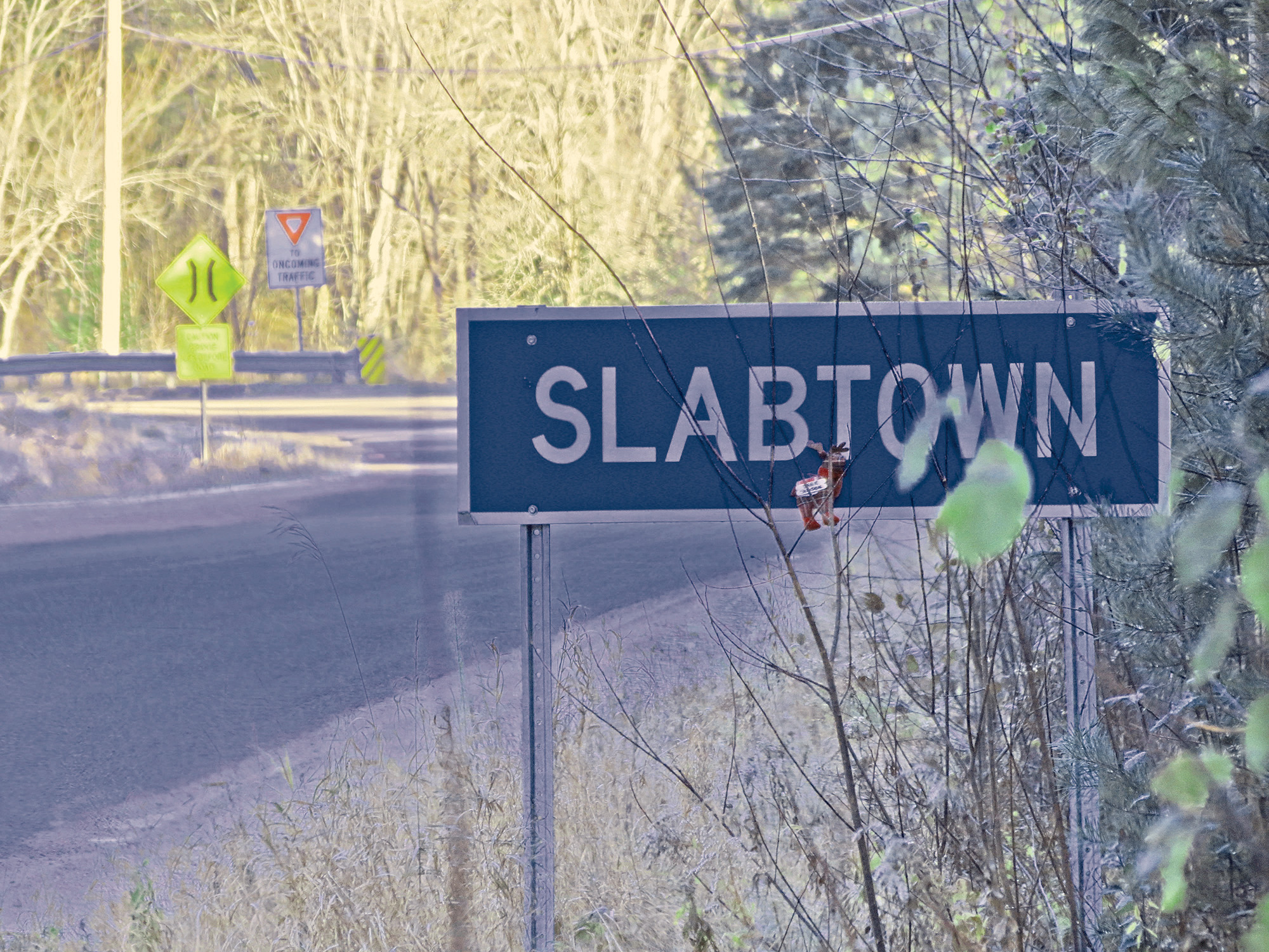 Slabtown was once a thriving logging town but today it is a hamlet with a single-lane iron bridge and a handful of houses nestled into the valley below Boulter.
