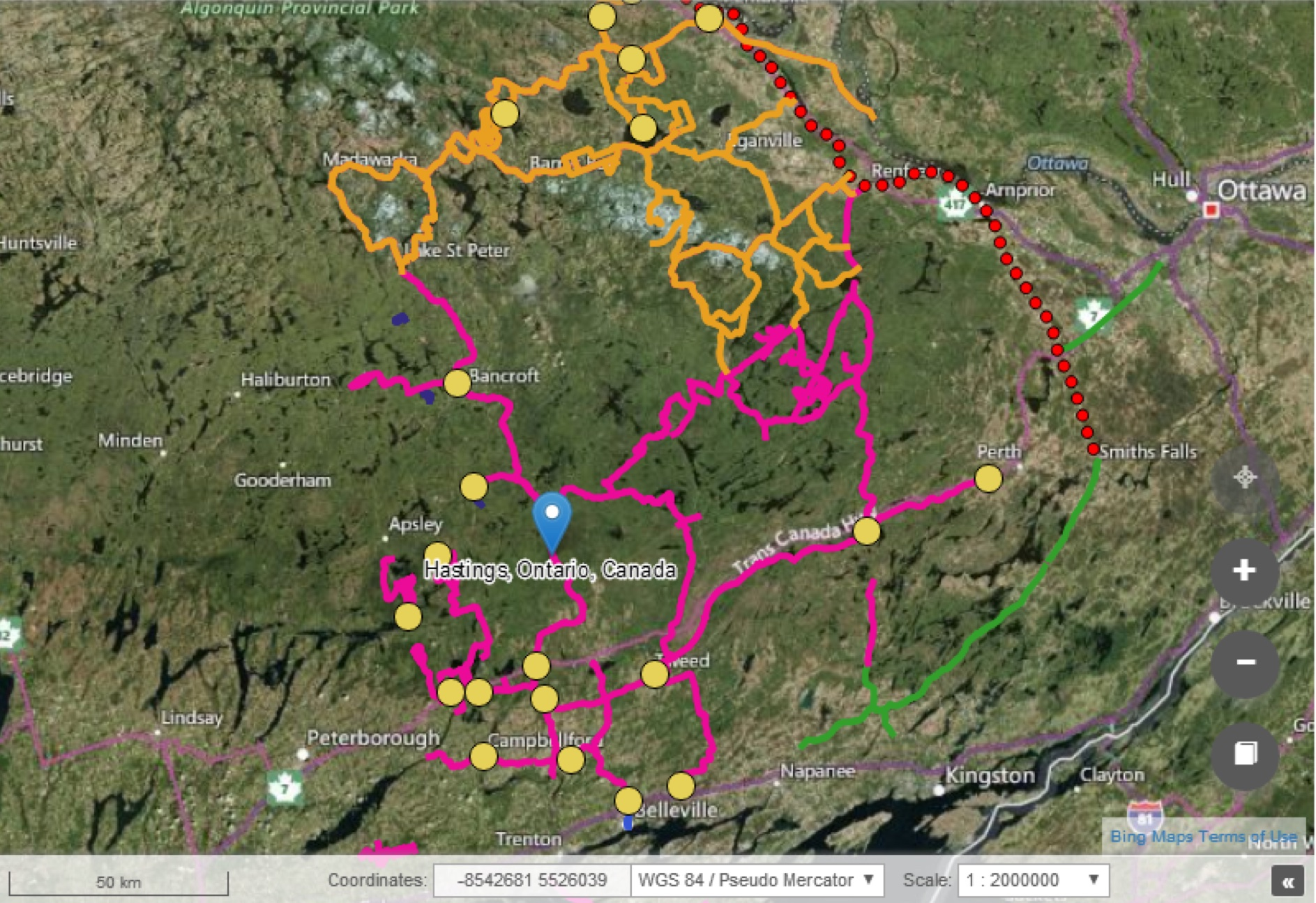 """A map of the """"the Mecca of trails"""" that North Hastings' Heritage Trail system has to offer."""